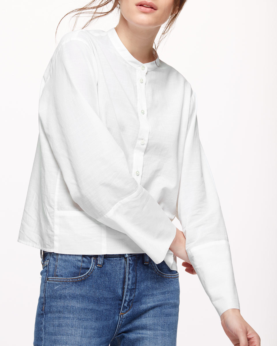 Artisan Shirt - pattern: plain; length: cropped; style: shirt; predominant colour: white; occasions: casual, creative work; neckline: collarstand; fibres: cotton - 100%; fit: loose; sleeve length: long sleeve; sleeve style: standard; texture group: cotton feel fabrics; pattern type: fabric; season: s/s 2016; wardrobe: basic