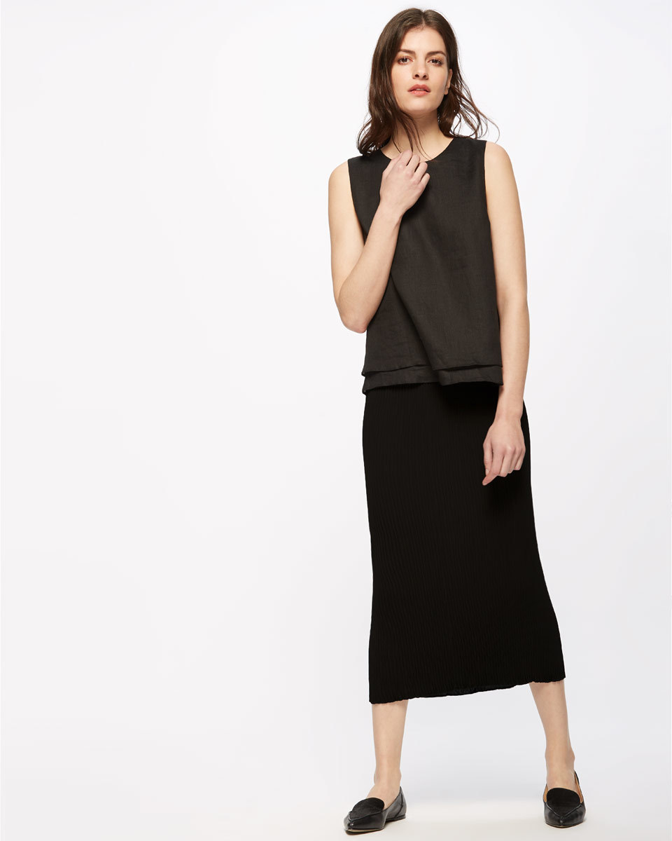Pleated Midi Skirt - length: below the knee; pattern: plain; style: pencil; fit: tight; waist detail: elasticated waist; waist: mid/regular rise; predominant colour: black; fibres: polyester/polyamide - 100%; pattern type: fabric; texture group: jersey - stretchy/drapey; occasions: creative work; season: s/s 2016; wardrobe: basic