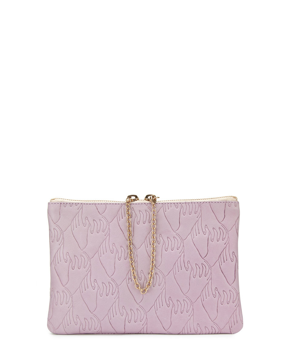 Sam Kerr Mini Pochette - predominant colour: pink; occasions: evening; type of pattern: standard; style: clutch; length: hand carry; size: small; material: faux leather; finish: plain; pattern: patterned/print; season: s/s 2016