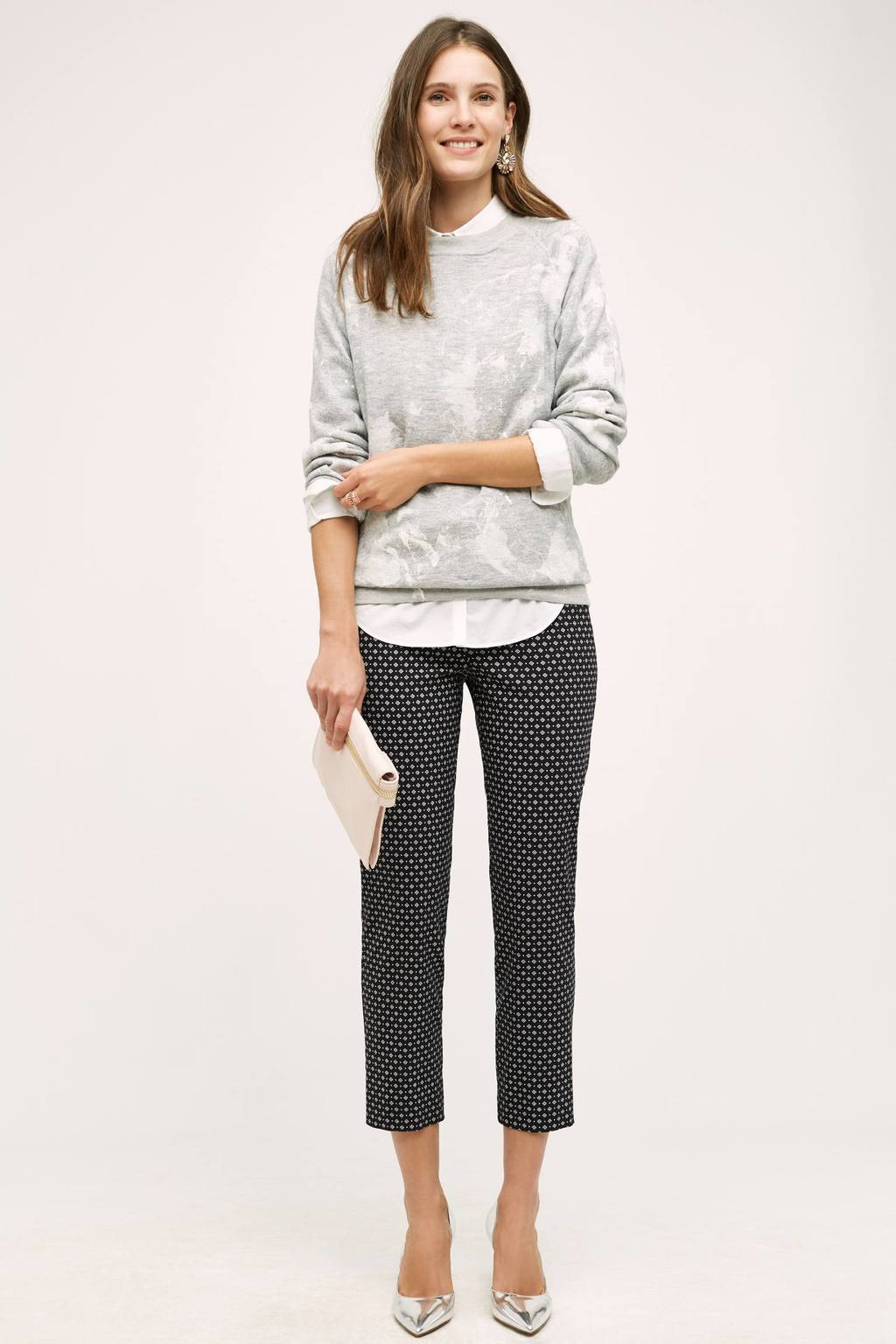 Finley Capri Trousers - pattern: plain; style: capri; waist: mid/regular rise; secondary colour: white; predominant colour: navy; length: calf length; fibres: cotton - mix; fit: slim leg; pattern type: fabric; texture group: woven light midweight; occasions: creative work; season: s/s 2016; wardrobe: basic