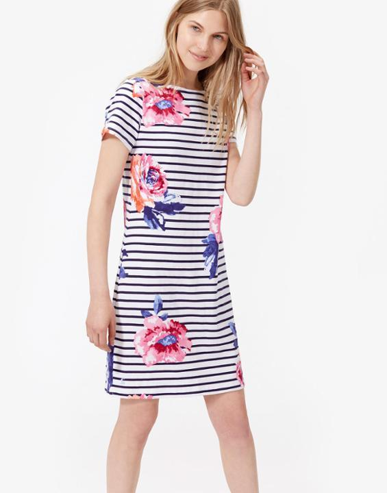 Rivieraprint Jersey T Shirt Dress Rose Stripe - style: t-shirt; pattern: horizontal stripes; predominant colour: ivory/cream; secondary colour: navy; occasions: casual; length: just above the knee; fit: body skimming; fibres: cotton - 100%; neckline: crew; sleeve length: short sleeve; sleeve style: standard; pattern type: fabric; texture group: jersey - stretchy/drapey; multicoloured: multicoloured; season: s/s 2016