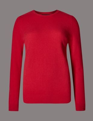 Pure Cashmere Round Neck Jumper - pattern: plain; style: standard; predominant colour: true red; occasions: casual, creative work; length: standard; fit: slim fit; neckline: crew; fibres: cashmere - 100%; sleeve length: long sleeve; sleeve style: standard; texture group: knits/crochet; pattern type: knitted - fine stitch; pattern size: standard; season: s/s 2015; wardrobe: highlight