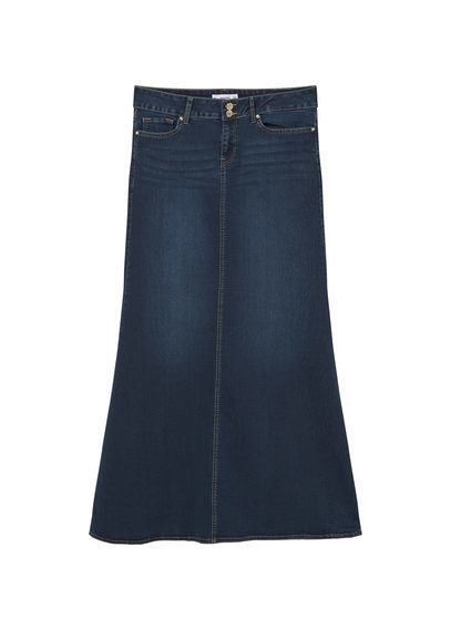 Denim Long Skirt - pattern: plain; fit: body skimming; waist: mid/regular rise; predominant colour: navy; occasions: casual; length: floor length; style: maxi skirt; fibres: cotton - mix; texture group: denim; pattern type: fabric; season: s/s 2016; wardrobe: basic