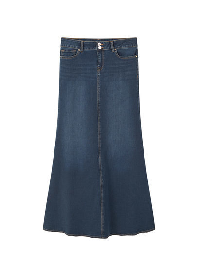 Denim Long Skirt - pattern: plain; length: ankle length; fit: body skimming; waist: mid/regular rise; predominant colour: navy; occasions: casual; style: maxi skirt; fibres: cotton - mix; texture group: denim; pattern type: fabric; season: s/s 2016; wardrobe: basic