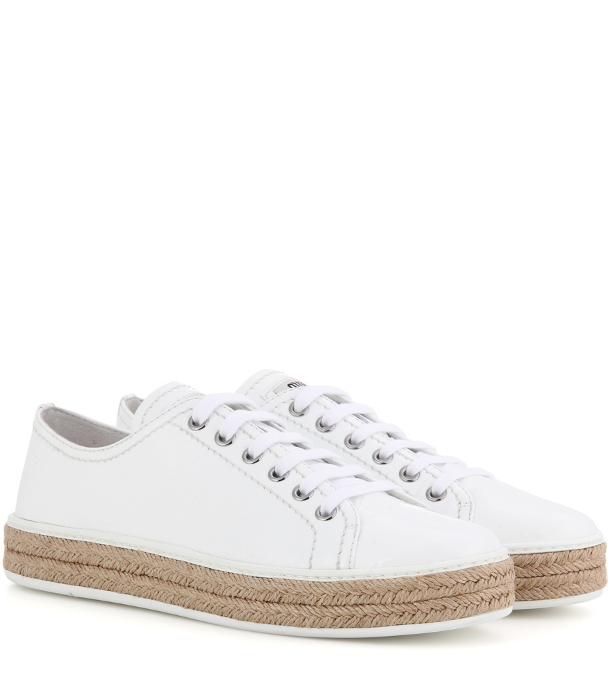 Patent Leather Espadrille Sneakers - predominant colour: white; occasions: casual, holiday; material: leather; heel height: flat; toe: round toe; style: trainers; finish: patent; pattern: plain; season: s/s 2016; wardrobe: basic
