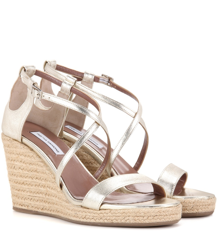 Liu Metallic Leather Wedge Sandals - predominant colour: gold; occasions: casual, holiday; material: leather; heel height: high; ankle detail: ankle strap; heel: wedge; toe: open toe/peeptoe; style: strappy; finish: metallic; pattern: plain; season: s/s 2016