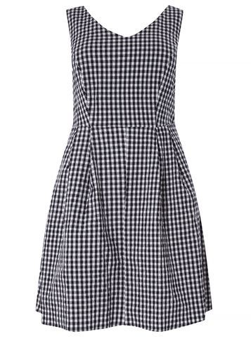 Womens **Dp Curve Navy And White Check Fit And Flare Dress Navy - neckline: v-neck; sleeve style: sleeveless; secondary colour: white; predominant colour: navy; occasions: casual; length: just above the knee; fit: fitted at waist & bust; style: fit & flare; fibres: cotton - mix; sleeve length: sleeveless; texture group: cotton feel fabrics; pattern type: fabric; pattern size: standard; pattern: patterned/print; season: s/s 2016