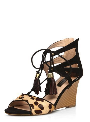 Womens Black 'piper' Tassle Wedges Black - secondary colour: nude; predominant colour: black; occasions: casual, holiday; heel height: mid; embellishment: tassels; ankle detail: ankle tie; heel: wedge; toe: open toe/peeptoe; style: strappy; finish: plain; pattern: animal print; material: faux suede; multicoloured: multicoloured; season: s/s 2016; wardrobe: highlight