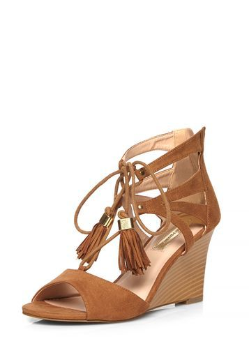 Womens Tan 'piper' Tassle Wedges Brown - predominant colour: camel; occasions: casual, holiday; heel height: high; embellishment: tassels; ankle detail: ankle tie; heel: wedge; toe: open toe/peeptoe; style: standard; finish: plain; pattern: plain; material: faux suede; season: s/s 2016; wardrobe: highlight