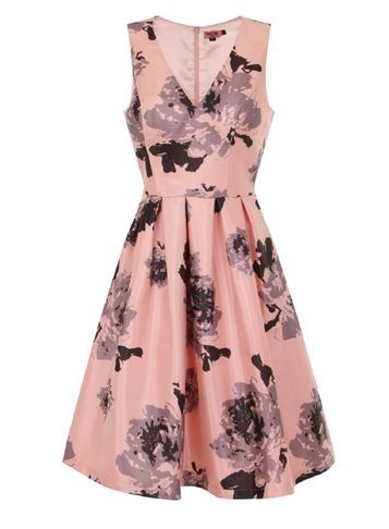Womens **Chi Chi London V Neck Floral Midi Dress Coral - neckline: v-neck; sleeve style: sleeveless; style: full skirt; predominant colour: blush; secondary colour: charcoal; occasions: evening; length: on the knee; fit: fitted at waist & bust; fibres: polyester/polyamide - 100%; sleeve length: sleeveless; pattern type: fabric; pattern size: big & busy; pattern: florals; texture group: other - light to midweight; multicoloured: multicoloured; season: s/s 2016; wardrobe: event