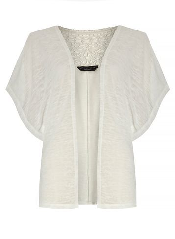 Womens Ivory Crochet Detail Cardigan White - sleeve style: dolman/batwing; pattern: plain; neckline: collarless open; style: open front; predominant colour: ivory/cream; occasions: casual; length: standard; fibres: cotton - 100%; fit: loose; sleeve length: half sleeve; texture group: knits/crochet; pattern type: knitted - fine stitch; season: s/s 2016; wardrobe: highlight; embellishment: contrast fabric; embellishment location: back