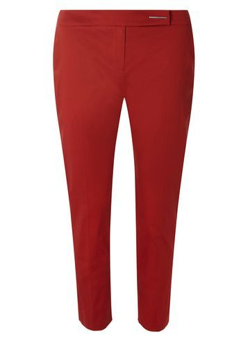 Womens Rust Cotton Sateen Cropped Trousers Red - length: standard; pattern: plain; waist: mid/regular rise; predominant colour: true red; occasions: casual, creative work; fibres: cotton - stretch; fit: slim leg; pattern type: fabric; texture group: woven light midweight; style: standard; season: s/s 2016; wardrobe: highlight