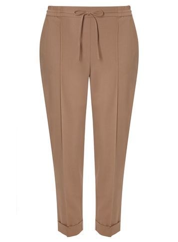 Womens Mink Joggers Brown - pattern: plain; style: peg leg; waist detail: belted waist/tie at waist/drawstring; waist: mid/regular rise; predominant colour: camel; occasions: casual, creative work; length: ankle length; fibres: polyester/polyamide - mix; jeans & bottoms detail: turn ups; fit: tapered; pattern type: fabric; texture group: other - light to midweight; season: s/s 2016; wardrobe: basic