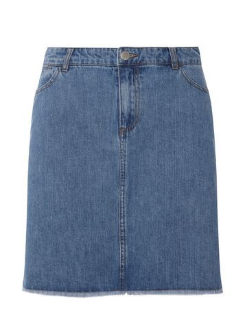 Womens **Tall Raw Hem Denim Skirt Blue - pattern: plain; style: straight; waist: mid/regular rise; predominant colour: denim; occasions: casual, creative work; length: just above the knee; fibres: cotton - 100%; texture group: denim; fit: straight cut; pattern type: fabric; season: s/s 2016; wardrobe: basic
