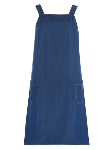 Womens **Tall Denim Midwash Pinafore Dress Blue - length: mid thigh; sleeve style: standard vest straps/shoulder straps; pattern: plain; style: dungaree dress/pinafore; predominant colour: navy; occasions: casual; fit: soft a-line; fibres: cotton - 100%; sleeve length: sleeveless; texture group: denim; neckline: medium square neck; pattern type: fabric; season: s/s 2016; wardrobe: highlight