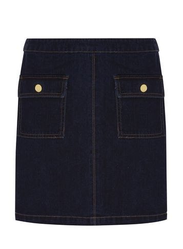 Womens Gold Button Denim Mini Skirt Blue - length: mini; pattern: plain; fit: tailored/fitted; waist: mid/regular rise; predominant colour: navy; occasions: casual; style: mini skirt; fibres: cotton - stretch; hip detail: subtle/flattering hip detail; texture group: denim; pattern type: fabric; season: s/s 2016; wardrobe: basic