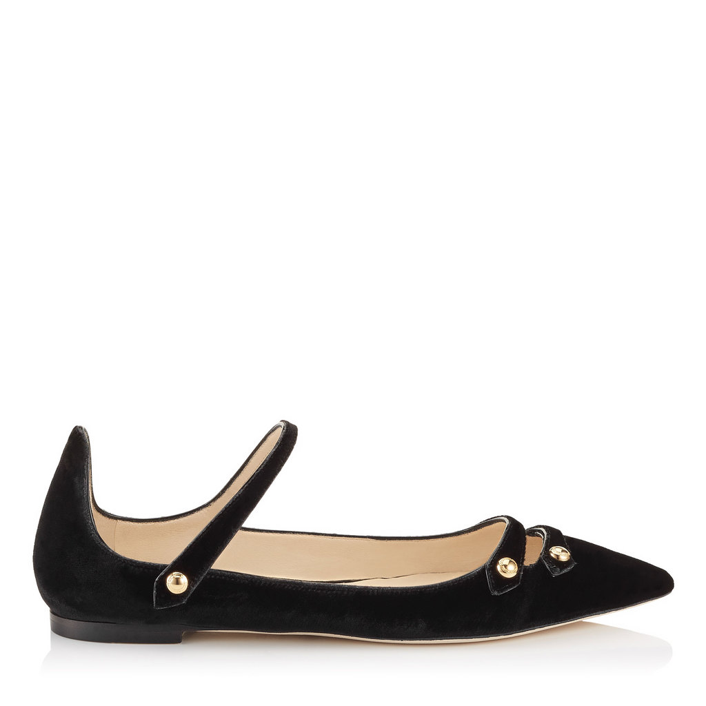 Layton Flat Black Velvet And Black Patent Pointy Toe Flats - predominant colour: black; occasions: casual, creative work; material: suede; heel height: flat; embellishment: studs; toe: pointed toe; style: ballerinas / pumps; finish: plain; pattern: plain; season: s/s 2016; wardrobe: basic