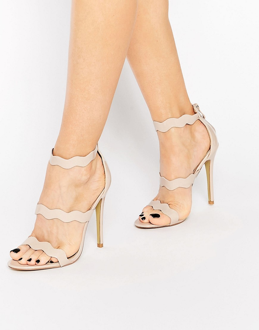 Ela Beige Wavy Strap Heeled Sandal Nude Patent - predominant colour: nude; occasions: evening, occasion; material: faux leather; heel height: high; ankle detail: ankle strap; heel: stiletto; toe: open toe/peeptoe; style: strappy; finish: plain; pattern: florals; season: s/s 2016; wardrobe: event