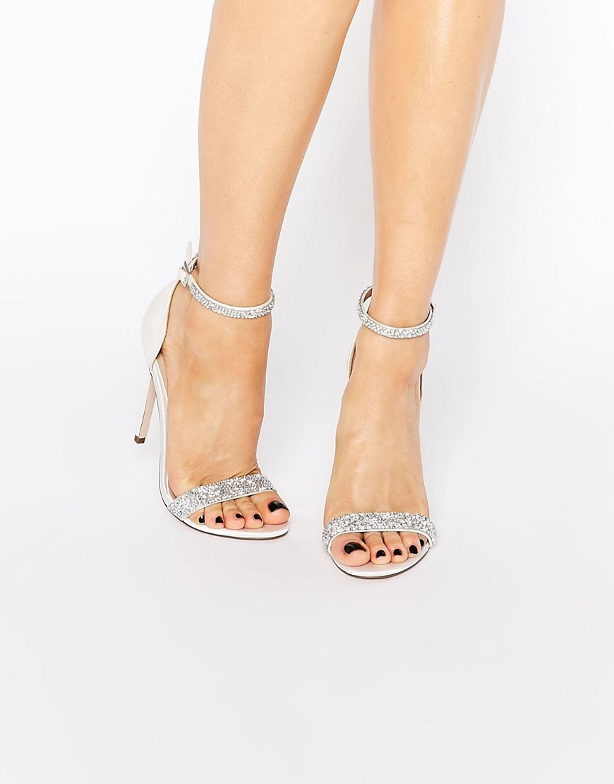 Heated Bridal Embellished Heeled Sandals Ivory - predominant colour: silver; occasions: evening; material: faux leather; heel height: high; ankle detail: ankle strap; heel: stiletto; toe: open toe/peeptoe; style: strappy; finish: plain; pattern: plain; season: s/s 2016; wardrobe: event