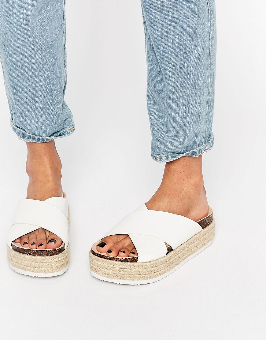 Further On Espadrille Mule Flatforms White - predominant colour: white; occasions: casual, holiday; material: leather; heel height: flat; heel: wedge; toe: open toe/peeptoe; style: slides; finish: plain; pattern: plain; shoe detail: platform; season: s/s 2016; wardrobe: highlight