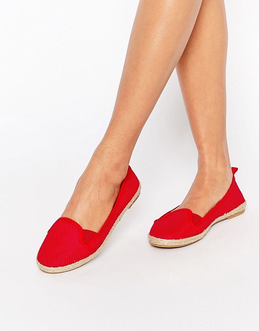 Jewel Of The Nile Mesh Espadrilles Red Mesh - predominant colour: true red; occasions: casual, holiday; material: fabric; heel height: flat; toe: round toe; finish: plain; pattern: plain; style: espadrilles; season: s/s 2016; wardrobe: highlight