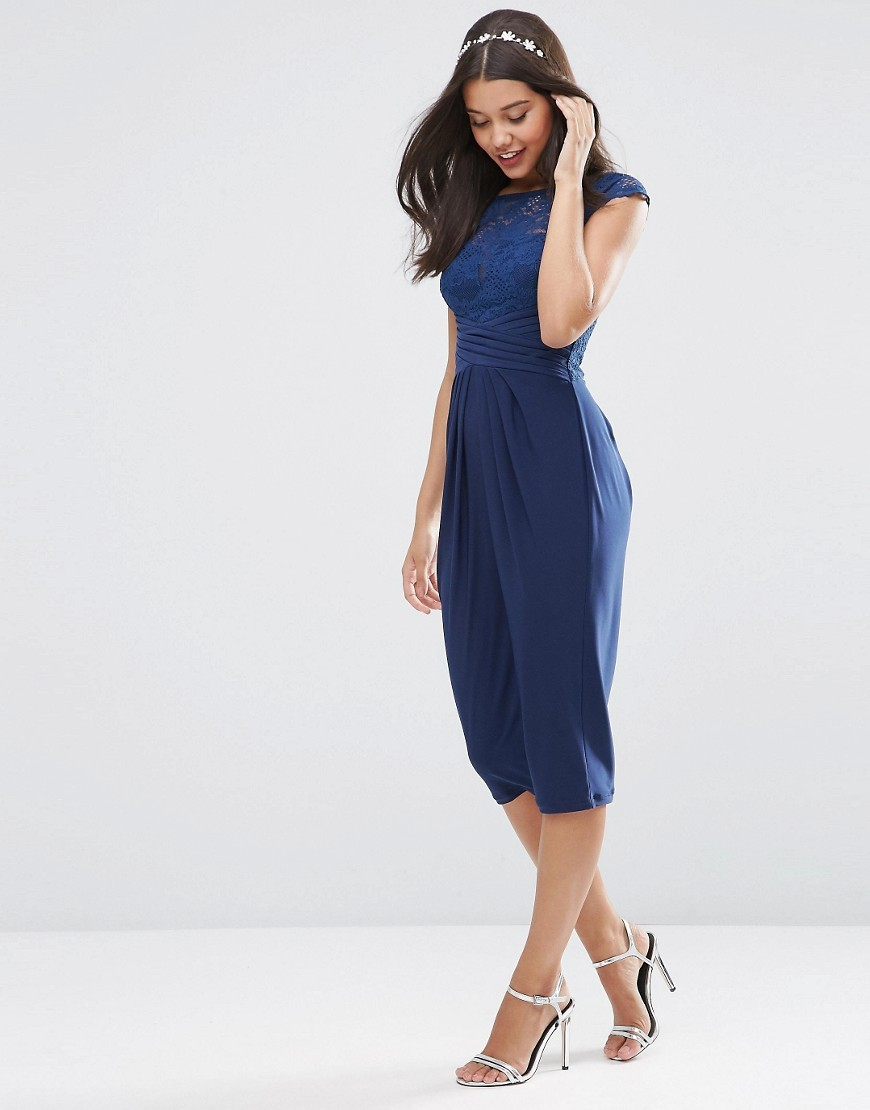 Wedding Lace Top Pleated Midi Dress Navy - style: shift; length: below the knee; sleeve style: capped; fit: fitted at waist; predominant colour: navy; fibres: polyester/polyamide - 100%; occasions: occasion; neckline: crew; hip detail: subtle/flattering hip detail; sleeve length: short sleeve; texture group: lace; pattern type: fabric; pattern size: standard; pattern: patterned/print; embellishment: lace; season: s/s 2016; wardrobe: event; embellishment location: bust