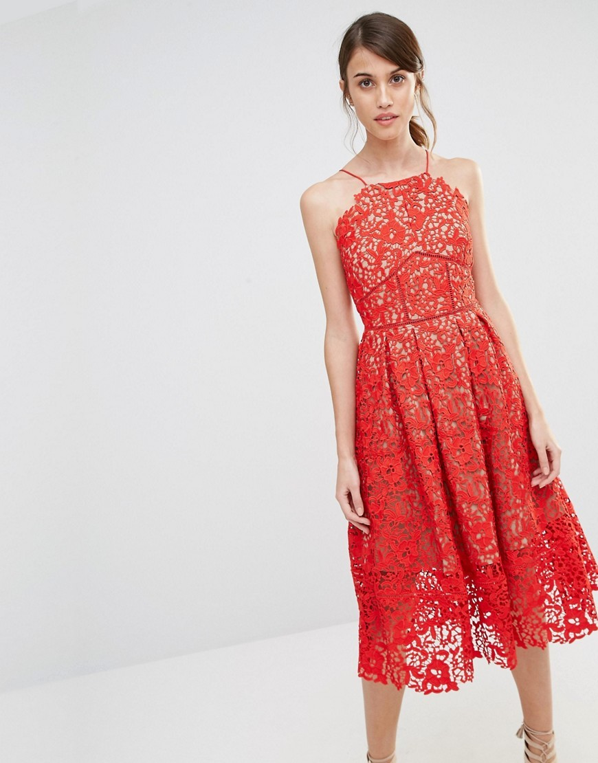 Premium Lace Full Midi Dress Red & Nude - length: below the knee; neckline: high square neck; sleeve style: sleeveless; predominant colour: coral; secondary colour: nude; fit: fitted at waist & bust; style: fit & flare; fibres: polyester/polyamide - 100%; occasions: occasion; sleeve length: sleeveless; texture group: lace; pattern type: fabric; pattern size: standard; pattern: patterned/print; embellishment: lace; season: s/s 2016; wardrobe: event