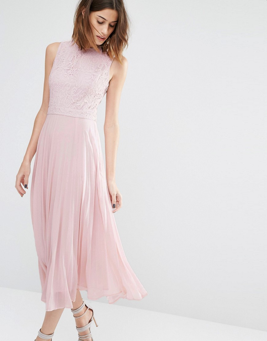 Lace Pleated Midi Dress Pale Pink - pattern: plain; sleeve style: sleeveless; style: maxi dress; length: ankle length; predominant colour: blush; occasions: evening; fit: body skimming; fibres: polyester/polyamide - mix; neckline: crew; sleeve length: sleeveless; texture group: sheer fabrics/chiffon/organza etc.; pattern type: fabric; season: s/s 2016; wardrobe: event