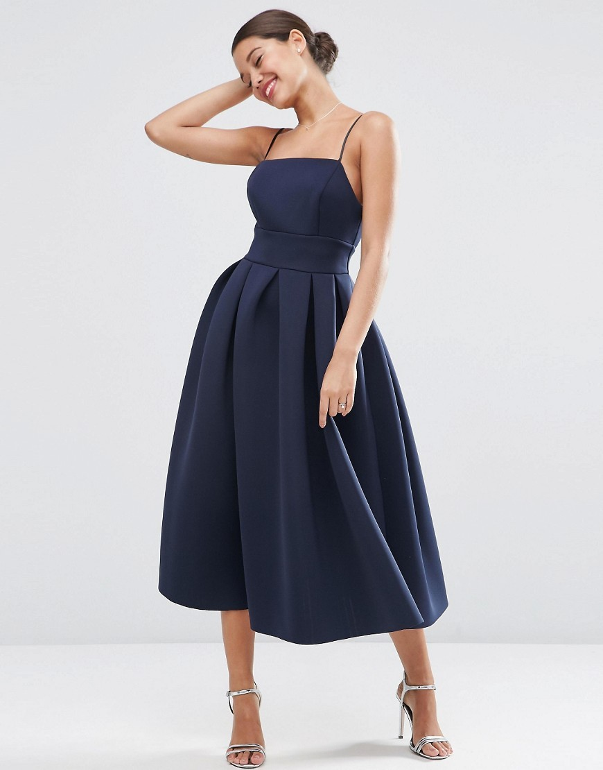 Wedding Strappy Pini Scuba Prom Midi Dress Navy - length: calf length; sleeve style: spaghetti straps; pattern: plain; style: prom dress; predominant colour: navy; occasions: evening, occasion; fit: fitted at waist & bust; fibres: polyester/polyamide - 100%; waist detail: narrow waistband; sleeve length: sleeveless; neckline: low square neck; pattern type: fabric; texture group: other - light to midweight; season: s/s 2016; wardrobe: event