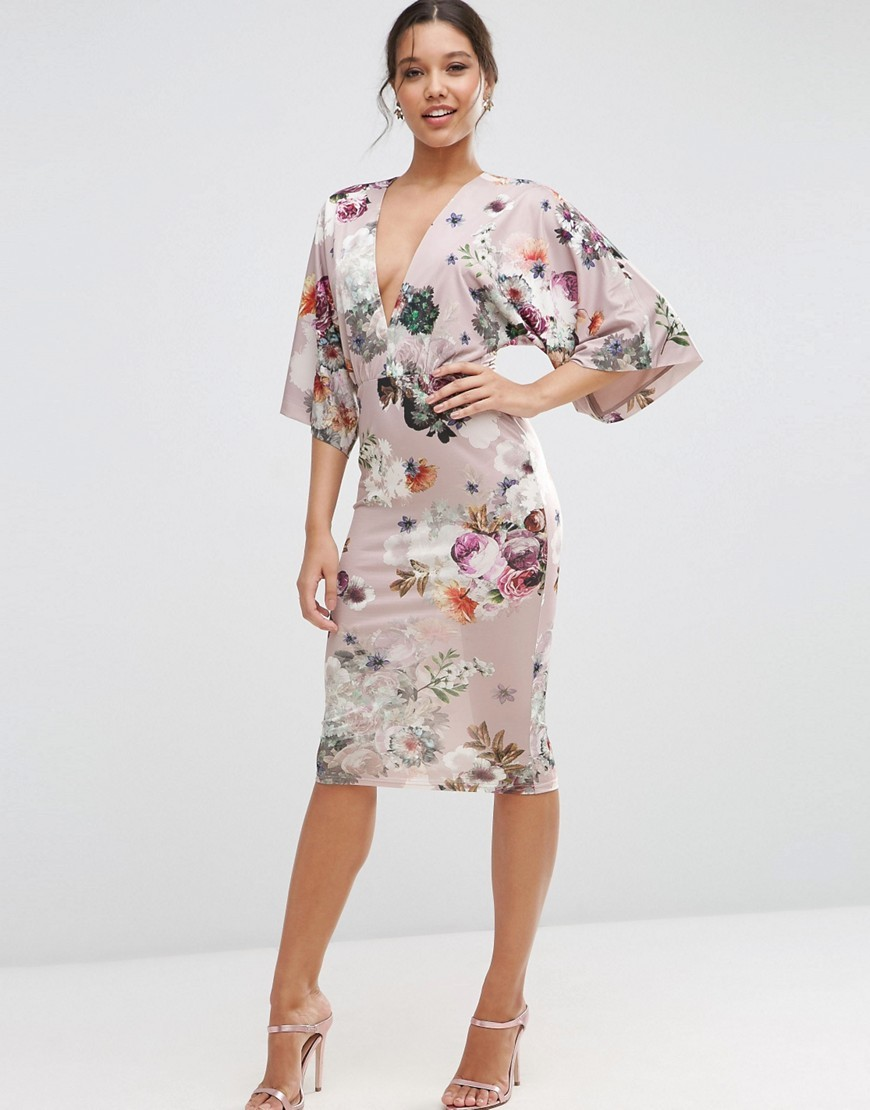 Soft Mink Floral Kimono Pencil Dress Print - style: faux wrap/wrap; neckline: low v-neck; sleeve style: angel/waterfall; fit: tailored/fitted; hip detail: fitted at hip; predominant colour: blush; occasions: evening, occasion; length: on the knee; fibres: polyester/polyamide - stretch; sleeve length: 3/4 length; pattern type: fabric; pattern size: standard; pattern: florals; texture group: woven light midweight; multicoloured: multicoloured; season: s/s 2016; wardrobe: event