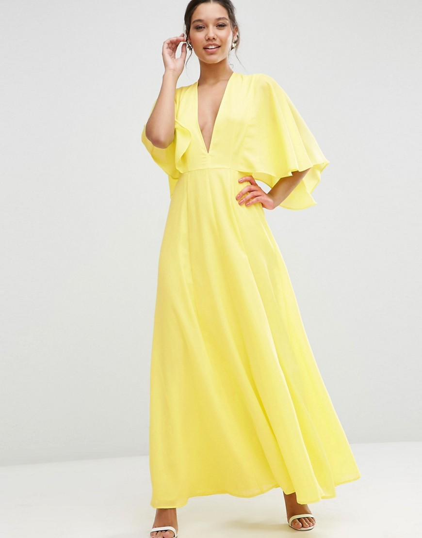 Deep Plunge Cape Sleeve Maxi Dress Yellow - neckline: v-neck; pattern: plain; style: maxi dress; length: ankle length; predominant colour: yellow; occasions: evening; fit: body skimming; fibres: polyester/polyamide - 100%; sleeve length: half sleeve; sleeve style: standard; pattern type: fabric; texture group: other - light to midweight; season: s/s 2016