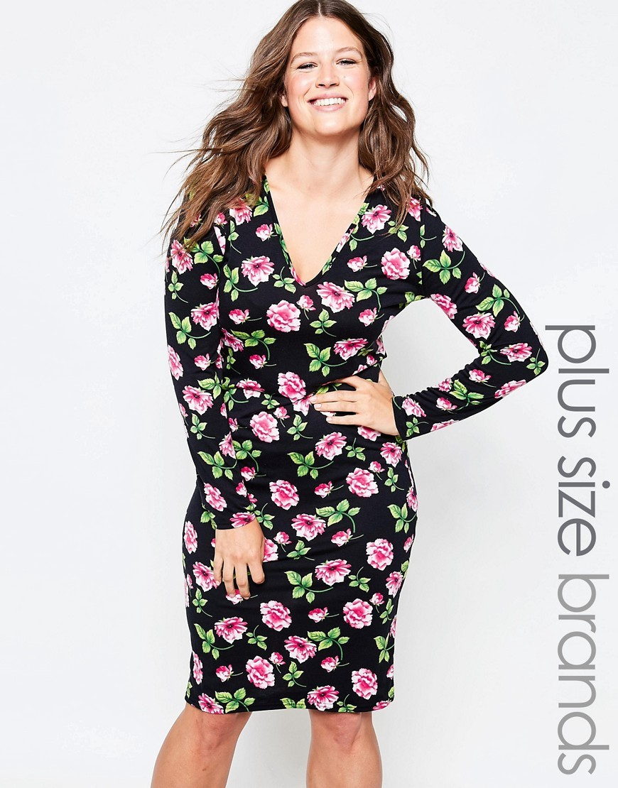 Plus Midi Dress With Plunge Neck In Floral Print Black - style: shift; neckline: v-neck; fit: tailored/fitted; secondary colour: pink; predominant colour: black; occasions: casual, creative work; length: on the knee; fibres: viscose/rayon - stretch; sleeve length: long sleeve; sleeve style: standard; pattern type: fabric; pattern: florals; texture group: other - light to midweight; season: s/s 2016; wardrobe: highlight