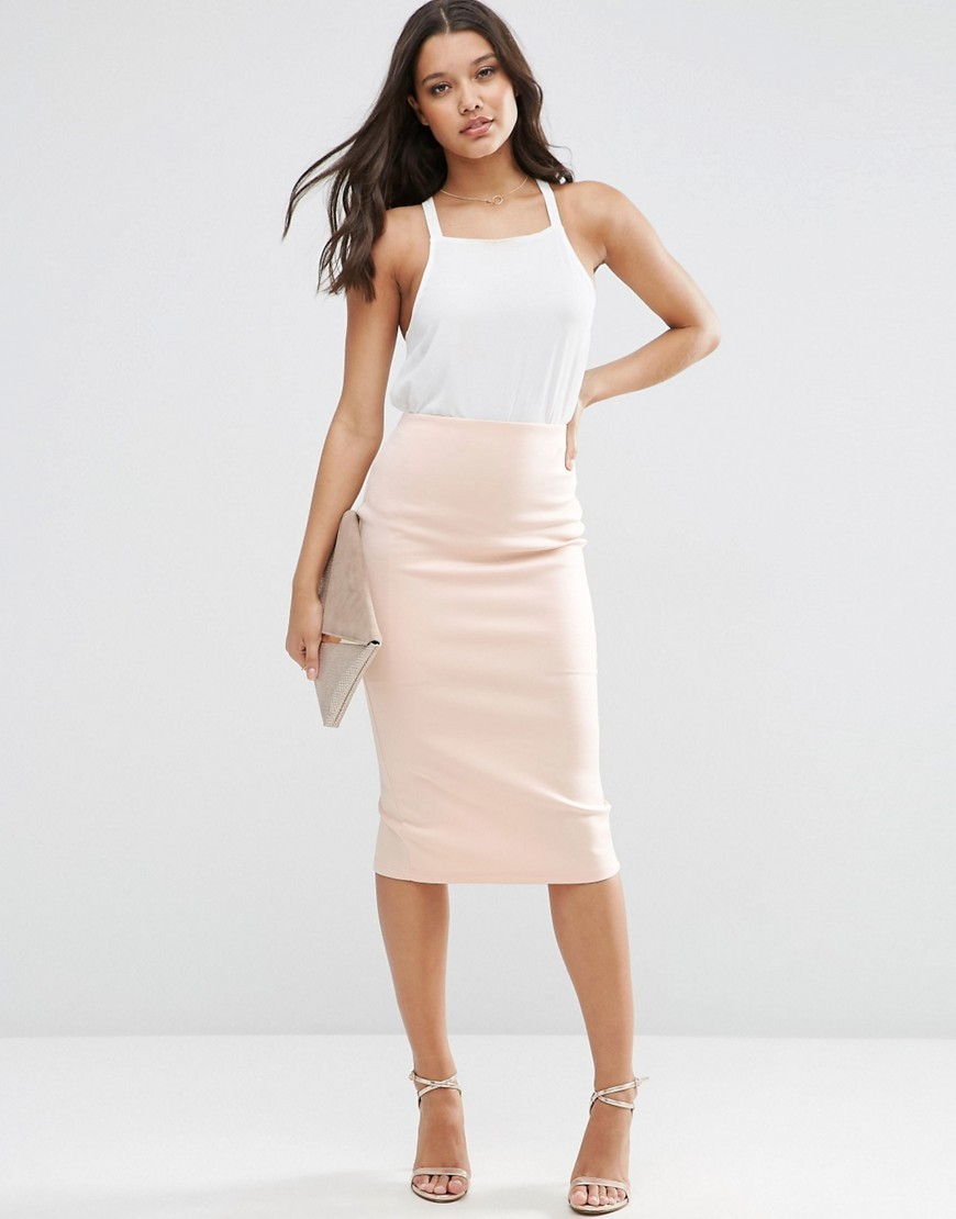 High Waisted Pencil Skirt In Scuba Nude - length: below the knee; pattern: plain; style: pencil; fit: tailored/fitted; waist: high rise; predominant colour: nude; occasions: work, occasion; fibres: polyester/polyamide - stretch; pattern type: fabric; texture group: other - light to midweight; season: s/s 2016; wardrobe: basic