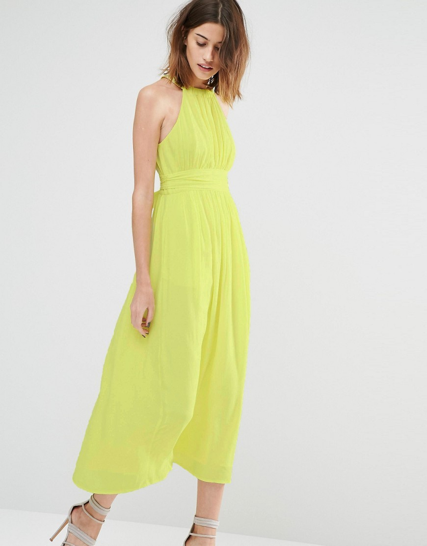 Tie Waist Pleated Top Midi Dress Yellow - pattern: plain; sleeve style: sleeveless; style: maxi dress; length: ankle length; bust detail: subtle bust detail; predominant colour: lime; occasions: evening, occasion; fit: fitted at waist & bust; fibres: polyester/polyamide - 100%; sleeve length: sleeveless; texture group: sheer fabrics/chiffon/organza etc.; pattern type: fabric; season: s/s 2016; neckline: high halter neck; wardrobe: event