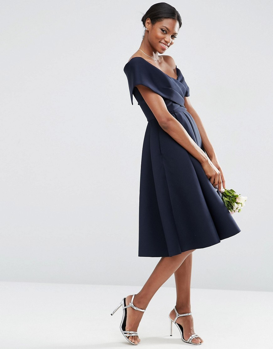 Wedding Scuba Off The Shoulder Midi Prom Dress Nude - neckline: off the shoulder; sleeve style: capped; pattern: plain; style: prom dress; waist detail: fitted waist; predominant colour: navy; occasions: evening, occasion; length: on the knee; fit: fitted at waist & bust; fibres: polyester/polyamide - 100%; hip detail: adds bulk at the hips; sleeve length: short sleeve; texture group: crepes; pattern type: fabric; season: s/s 2016; wardrobe: event
