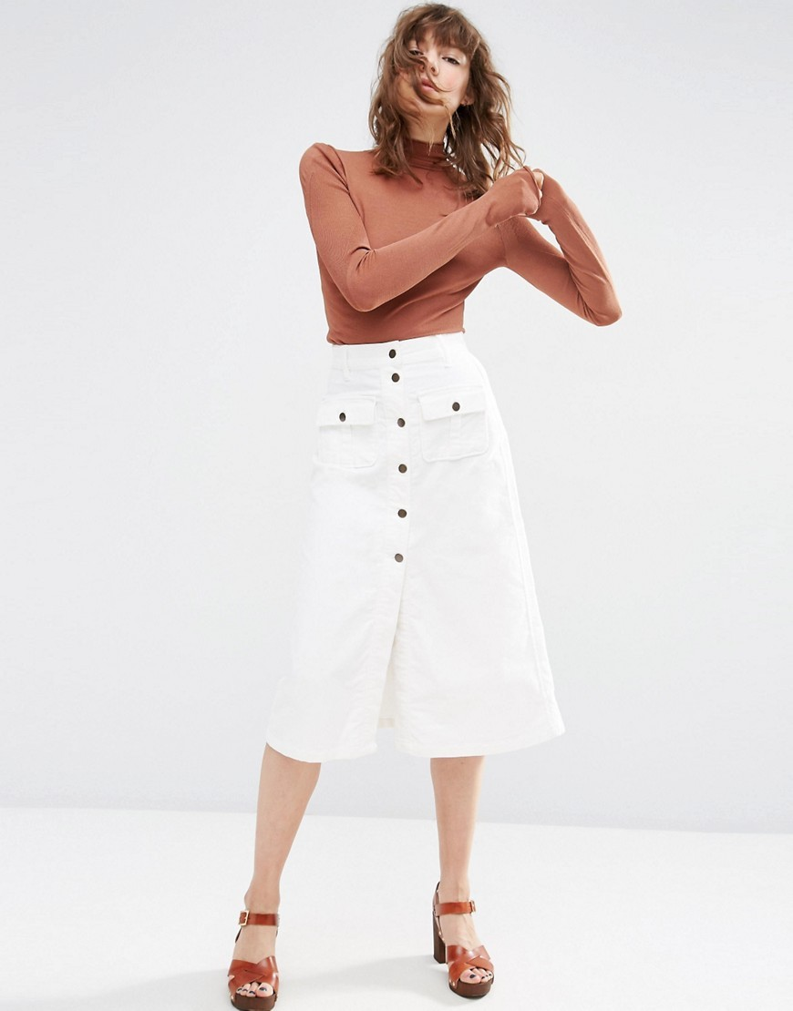 Cord Button Through Midi Skirt In White White - length: below the knee; pattern: plain; fit: loose/voluminous; waist: high rise; predominant colour: white; occasions: casual, creative work; style: a-line; fibres: cotton - 100%; texture group: cotton feel fabrics; pattern type: fabric; season: s/s 2016; wardrobe: basic