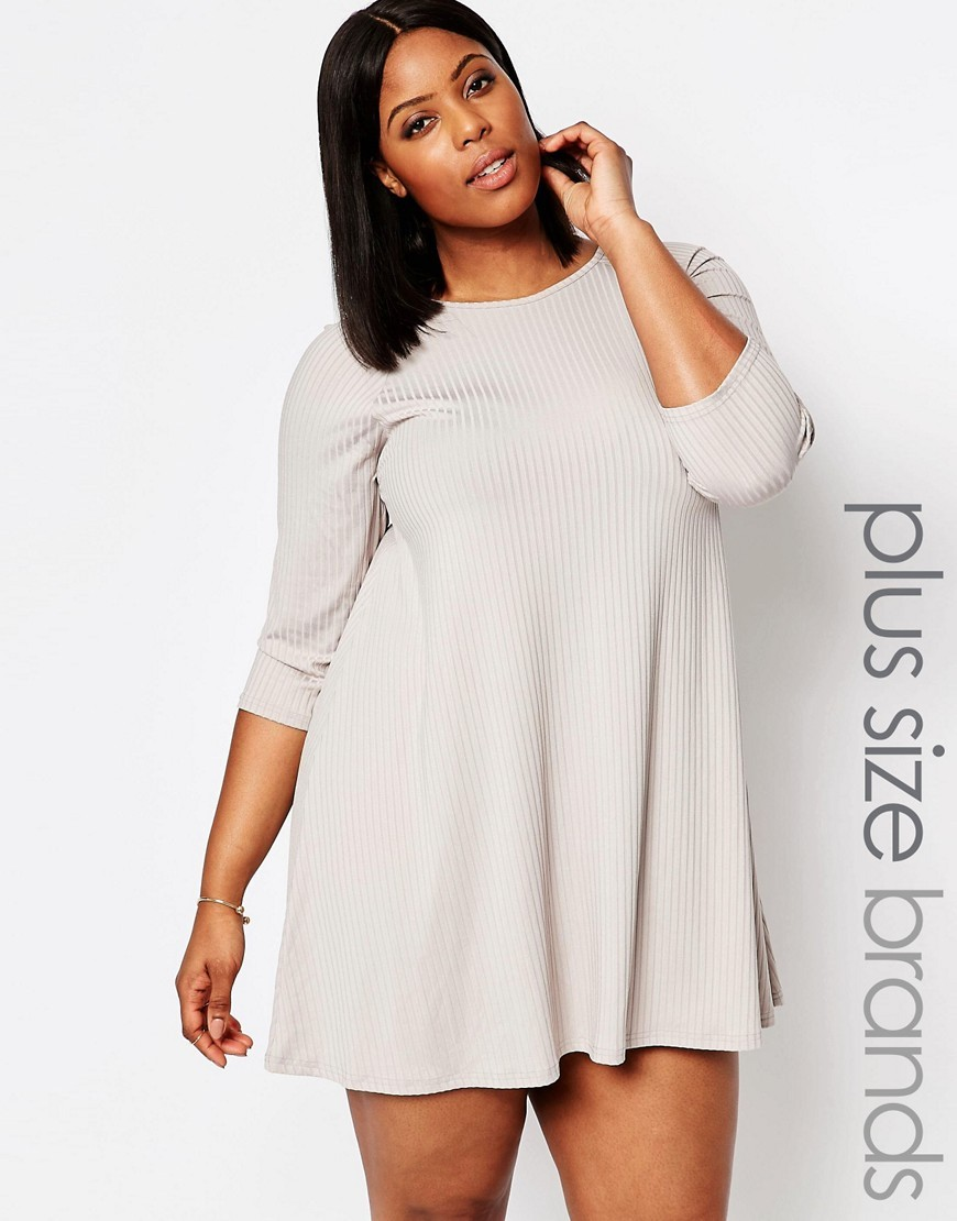 Plus Estentials Swing Dress In Rib Marl Grey - style: trapeze; length: mini; fit: loose; pattern: plain; predominant colour: light grey; occasions: casual; fibres: cotton - stretch; neckline: crew; sleeve length: 3/4 length; sleeve style: standard; pattern type: fabric; texture group: jersey - stretchy/drapey; season: s/s 2016; wardrobe: basic
