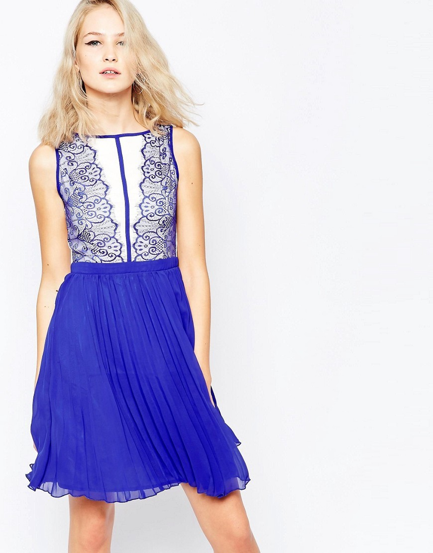 Skater Dress With Eyelash Lace Plunge Blue - sleeve style: sleeveless; secondary colour: white; predominant colour: royal blue; occasions: evening; length: just above the knee; fit: fitted at waist & bust; style: fit & flare; fibres: polyester/polyamide - 100%; neckline: crew; hip detail: subtle/flattering hip detail; sleeve length: sleeveless; texture group: sheer fabrics/chiffon/organza etc.; pattern type: fabric; pattern size: standard; pattern: patterned/print; embellishment: lace; multicoloured: multicoloured; season: s/s 2016; wardrobe: event; embellishment location: bust