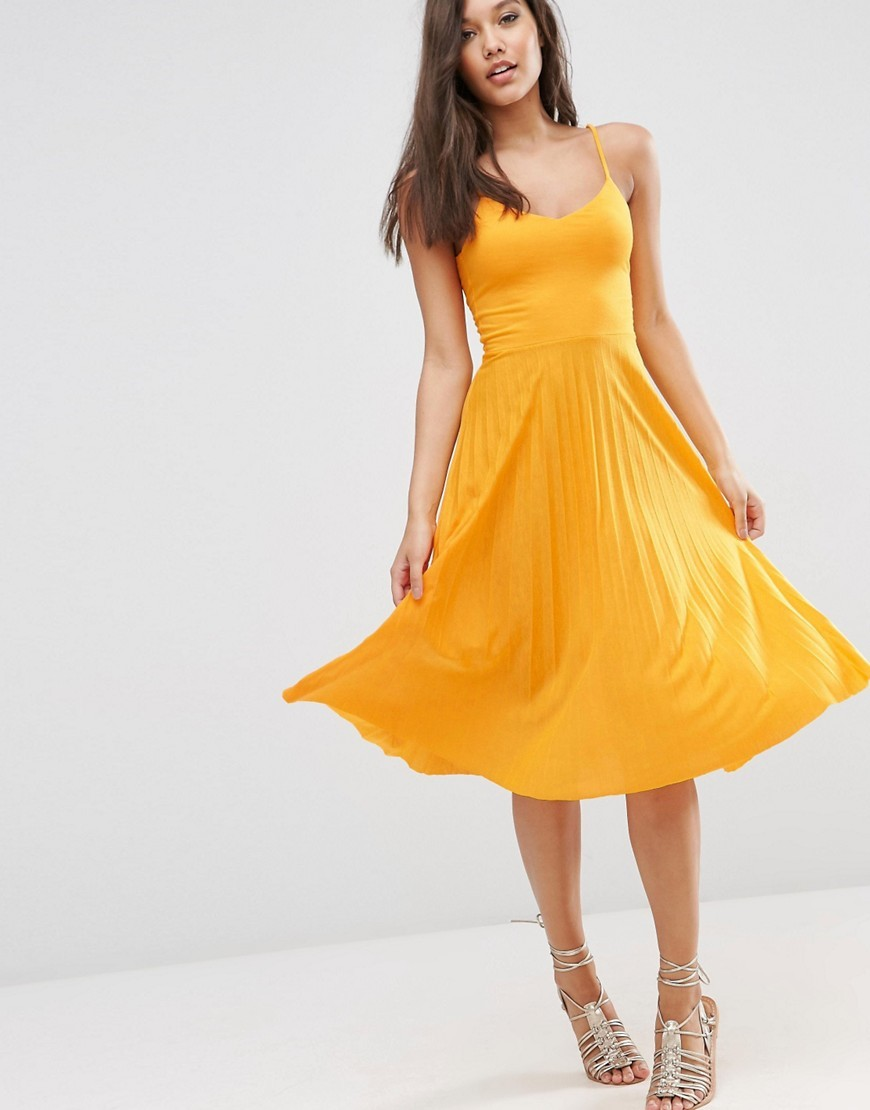 Cami Midi Dress With Pleated Skirt Yellow - length: below the knee; neckline: v-neck; sleeve style: spaghetti straps; pattern: plain; predominant colour: yellow; fit: fitted at waist & bust; style: fit & flare; fibres: polyester/polyamide - 100%; occasions: occasion; hip detail: subtle/flattering hip detail; sleeve length: sleeveless; pattern type: fabric; texture group: jersey - stretchy/drapey; season: s/s 2016; wardrobe: event