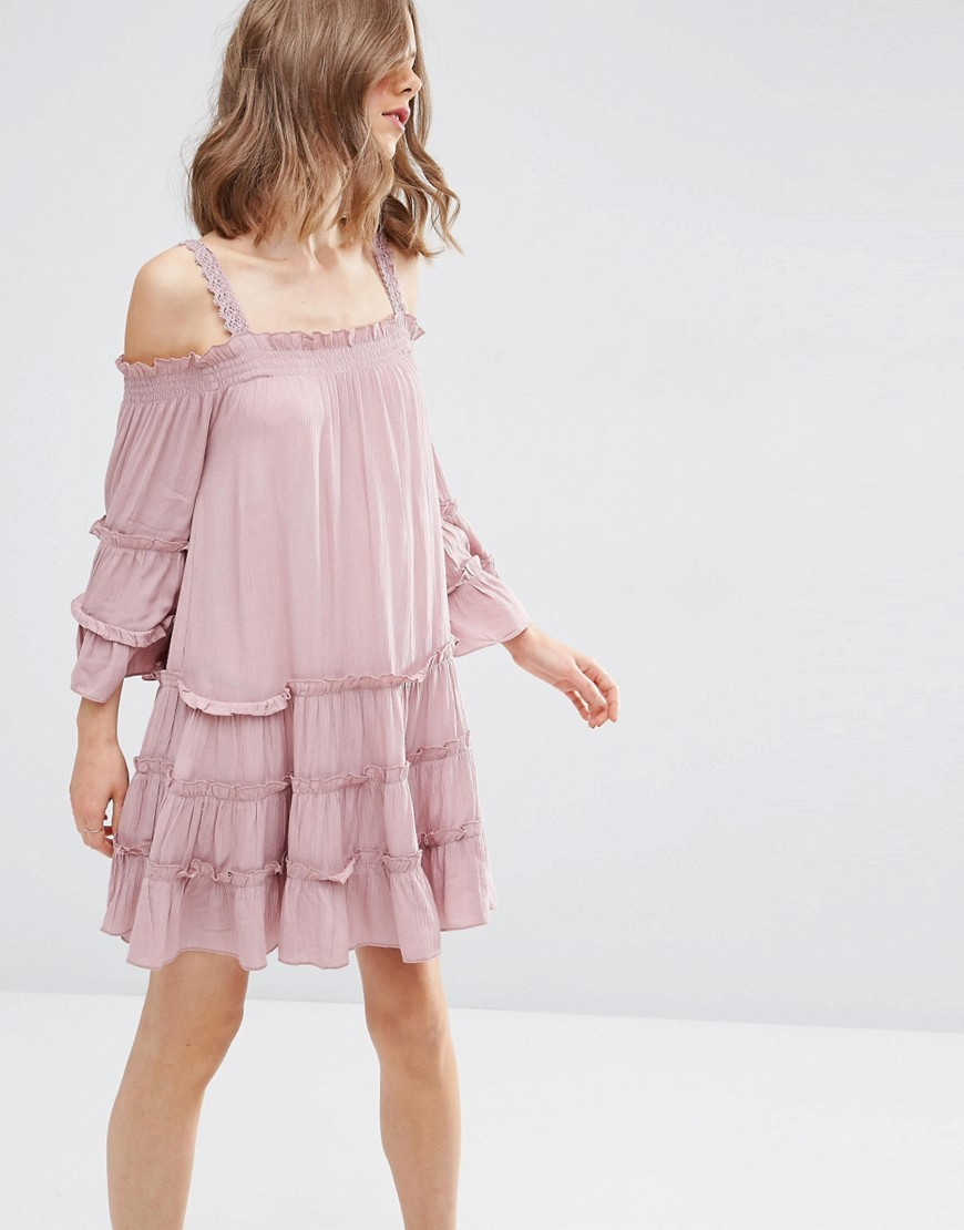 Tiered Cold Shoulder Sundress Pink - style: smock; fit: loose; pattern: plain; predominant colour: blush; occasions: casual; length: just above the knee; fibres: viscose/rayon - 100%; shoulder detail: cut out shoulder; sleeve length: long sleeve; sleeve style: standard; neckline: medium square neck; pattern type: fabric; texture group: other - light to midweight; season: s/s 2016
