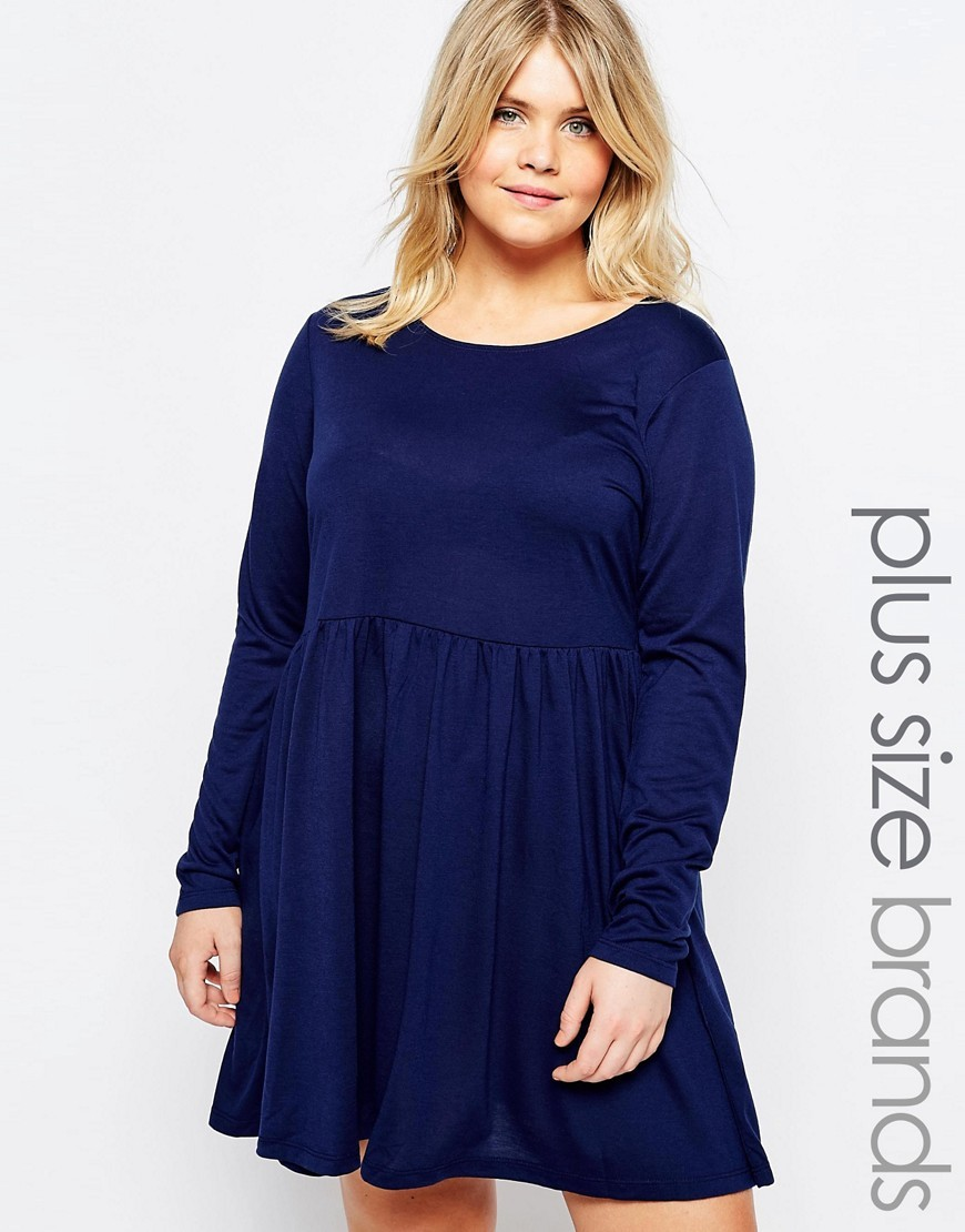 Plus Jersey Skater Dress Blue - length: mid thigh; pattern: plain; predominant colour: navy; fit: fitted at waist & bust; style: fit & flare; neckline: scoop; fibres: polyester/polyamide - mix; hip detail: soft pleats at hip/draping at hip/flared at hip; sleeve length: long sleeve; sleeve style: standard; pattern type: fabric; texture group: jersey - stretchy/drapey; occasions: creative work; season: s/s 2016