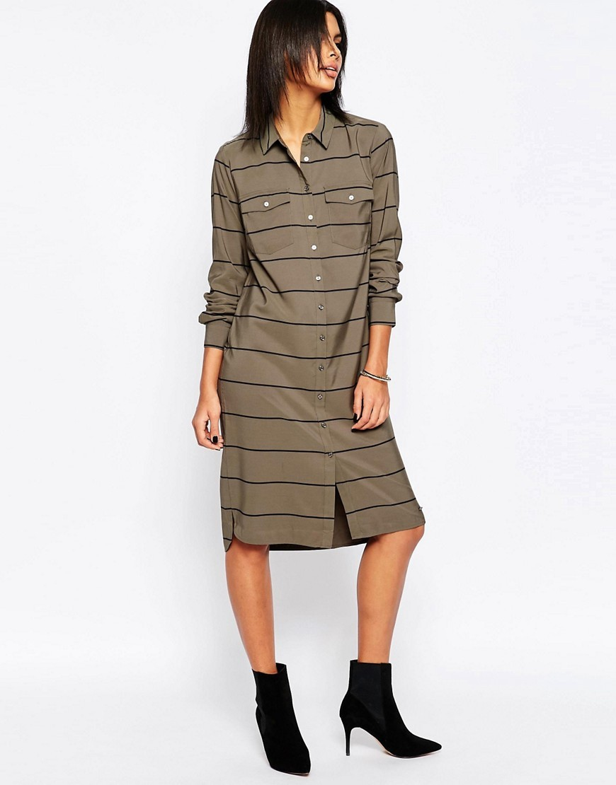 Fergy Striped Midi Shirt Dress 679military Green - style: shirt; neckline: shirt collar/peter pan/zip with opening; pattern: horizontal stripes; bust detail: subtle bust detail; predominant colour: khaki; secondary colour: black; occasions: casual, creative work; length: on the knee; fit: straight cut; fibres: polyester/polyamide - 100%; sleeve length: long sleeve; sleeve style: standard; texture group: crepes; pattern type: fabric; season: s/s 2016; wardrobe: basic