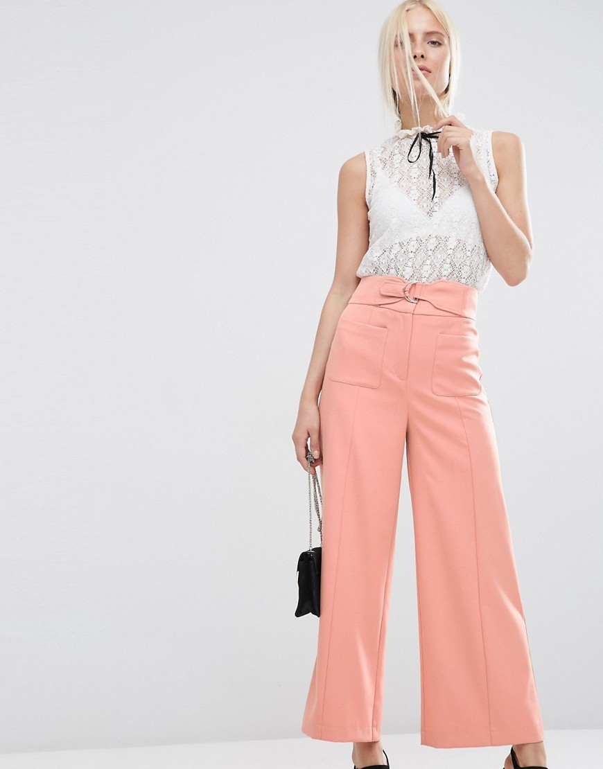 Wide Leg Trousers With Buckle Detail Soft Pink - pattern: plain; style: palazzo; waist: high rise; waist detail: belted waist/tie at waist/drawstring; predominant colour: coral; occasions: casual, creative work; length: ankle length; fibres: polyester/polyamide - 100%; texture group: crepes; fit: wide leg; pattern type: fabric; season: s/s 2016; wardrobe: highlight