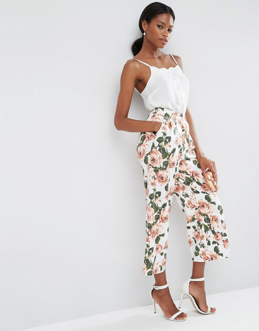 Wide Leg Floral Culottes Co Ord Floral - waist: high rise; pocket detail: pockets at the sides; predominant colour: ivory/cream; secondary colour: emerald green; length: calf length; fibres: cotton - mix; occasions: occasion; fit: wide leg; pattern type: fabric; pattern: florals; texture group: other - light to midweight; style: standard; pattern size: standard (bottom); multicoloured: multicoloured; season: s/s 2016; wardrobe: event