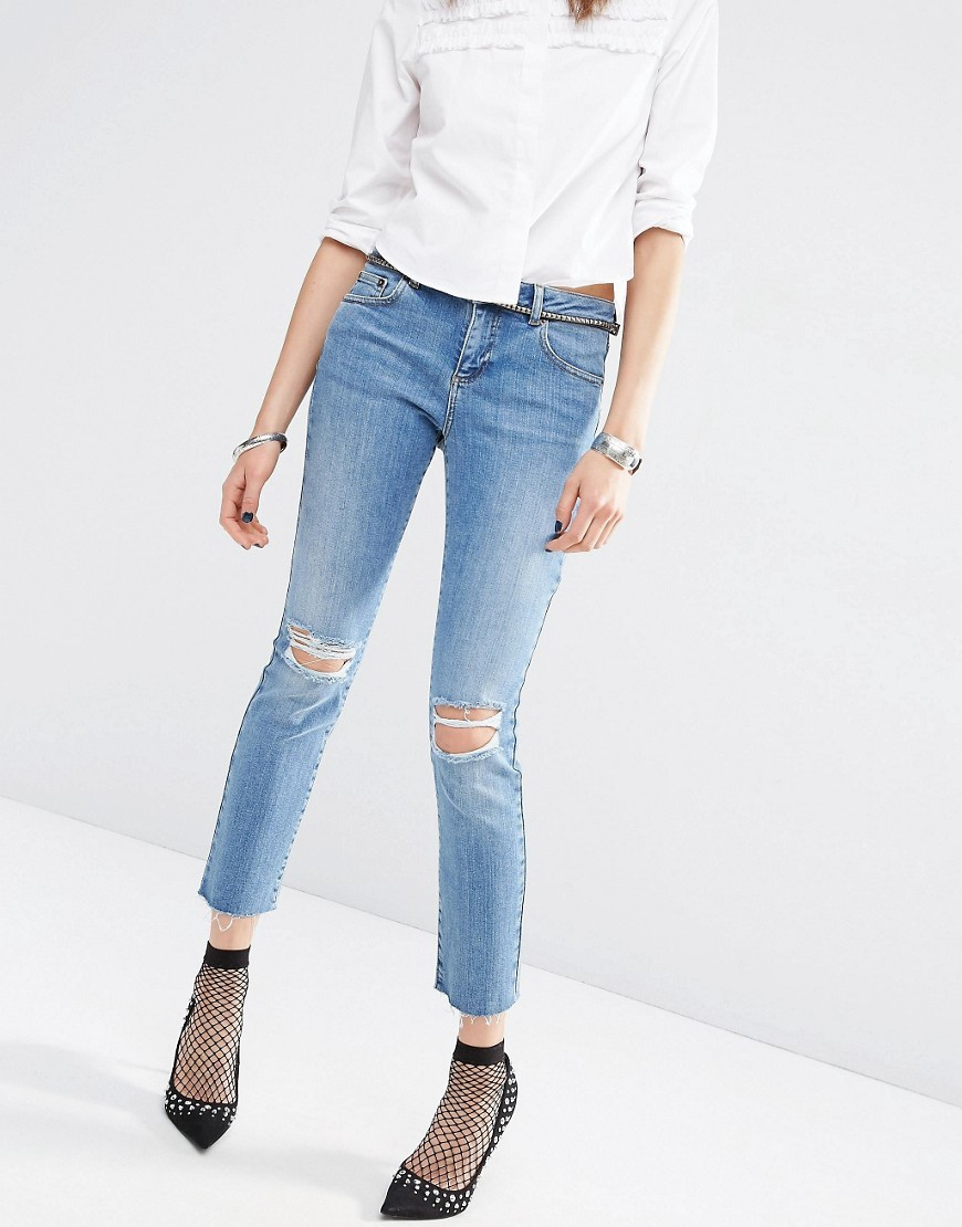 Pencil Straight Leg Jeans In Heather Blue Wash With Rips Midwash Blue - style: skinny leg; pattern: plain; pocket detail: traditional 5 pocket; waist: mid/regular rise; predominant colour: denim; occasions: casual; length: ankle length; fibres: cotton - stretch; jeans detail: shading down centre of thigh, rips; texture group: denim; pattern type: fabric; season: s/s 2016; wardrobe: basic