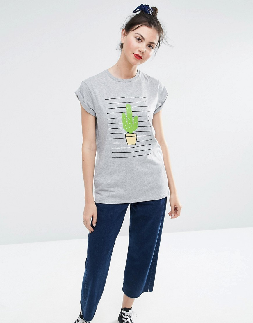 Boyfriend T Shirt With Cactus Stripe Print Grey Marl - sleeve style: capped; length: below the bottom; style: t-shirt; predominant colour: light grey; occasions: casual; fibres: cotton - 100%; fit: body skimming; neckline: crew; sleeve length: short sleeve; pattern type: fabric; pattern size: standard; pattern: patterned/print; texture group: jersey - stretchy/drapey; season: s/s 2016; wardrobe: highlight