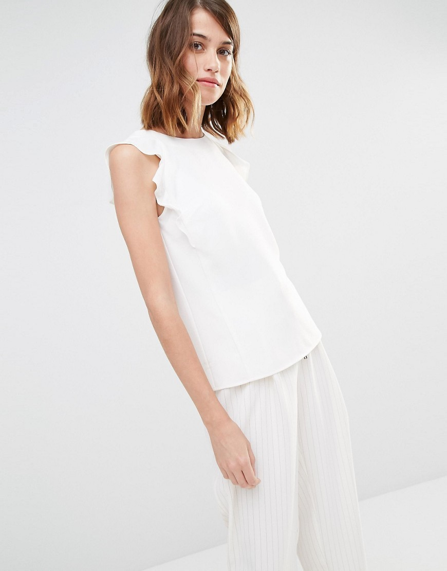 Ruffle Detail Shell Cream - neckline: round neck; pattern: plain; sleeve style: sleeveless; predominant colour: ivory/cream; occasions: casual, creative work; length: standard; style: top; fibres: polyester/polyamide - stretch; fit: body skimming; sleeve length: sleeveless; pattern type: fabric; texture group: other - light to midweight; season: s/s 2016; wardrobe: basic