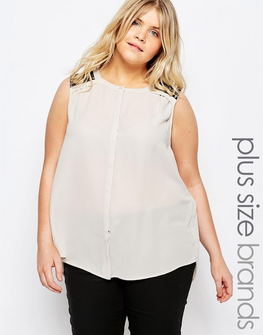 Pinar Blouse With Lace Panels Moonbeam - neckline: round neck; pattern: plain; sleeve style: sleeveless; length: below the bottom; style: blouse; predominant colour: ivory/cream; occasions: casual, creative work; fibres: polyester/polyamide - 100%; fit: body skimming; sleeve length: sleeveless; texture group: sheer fabrics/chiffon/organza etc.; pattern type: fabric; season: s/s 2016; wardrobe: highlight; embellishment: contrast fabric; embellishment location: shoulder