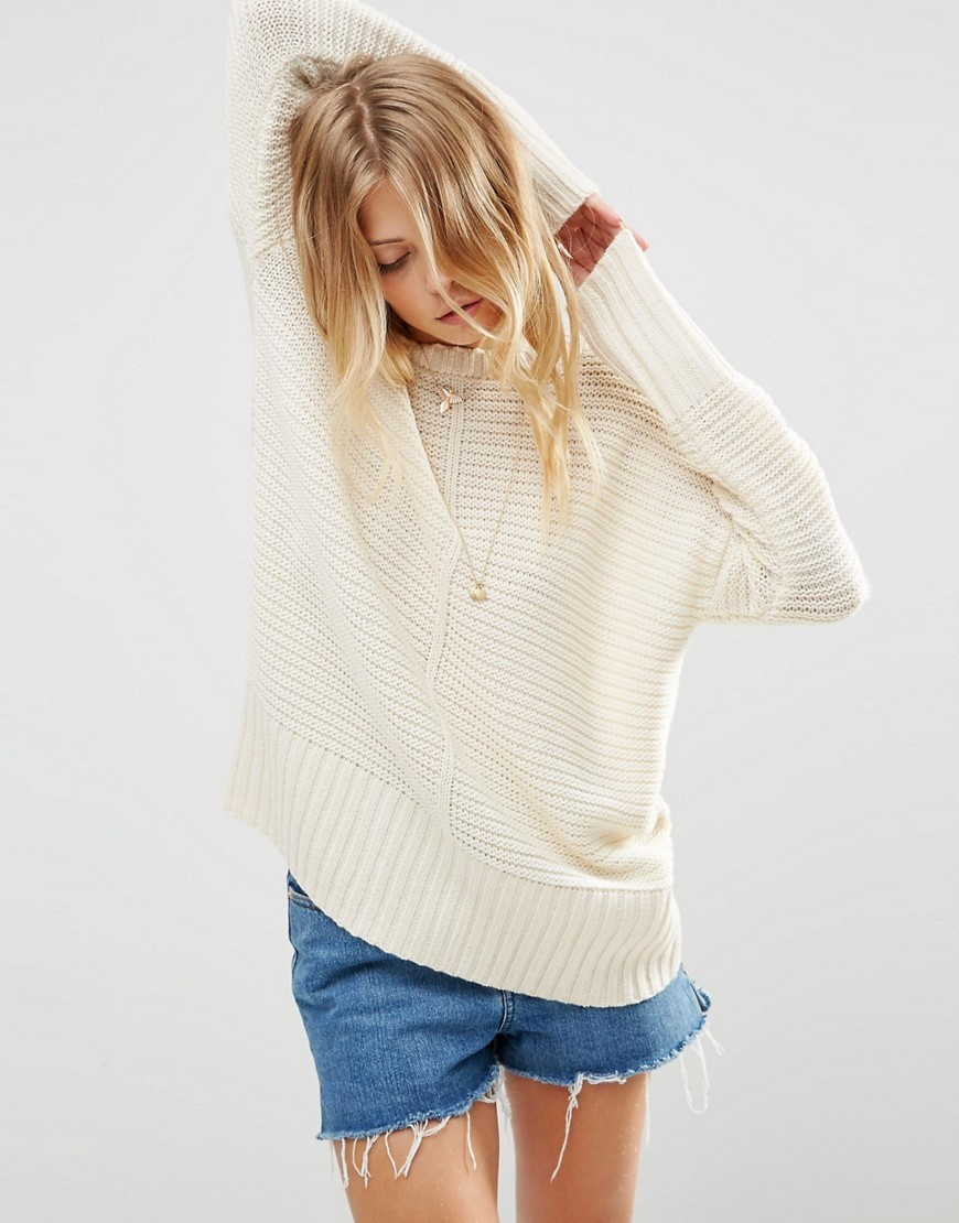 Ultimate Chunky Jumper Cream - neckline: round neck; pattern: plain; style: standard; predominant colour: ivory/cream; occasions: casual, creative work; length: standard; fibres: acrylic - mix; fit: loose; sleeve length: long sleeve; sleeve style: standard; texture group: knits/crochet; pattern type: knitted - other; season: s/s 2016; wardrobe: basic