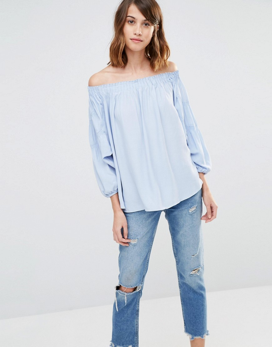 Off Shoulder Blouson Sleeve Top Blue - neckline: off the shoulder; pattern: plain; predominant colour: pale blue; occasions: casual; length: standard; style: top; fibres: viscose/rayon - 100%; fit: loose; sleeve length: long sleeve; sleeve style: standard; pattern type: fabric; texture group: other - light to midweight; season: s/s 2016; wardrobe: highlight